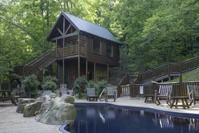 Pool House is just below our cabin. It is convenient, relaxing, and fun for kids