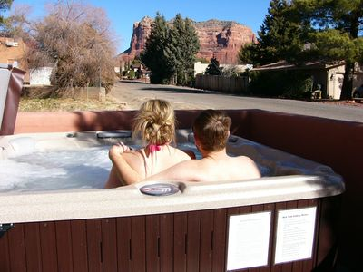Relaxing time with great views in Our  6 Person hot Tub