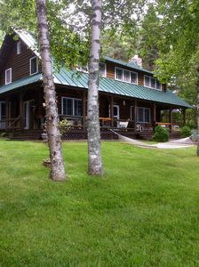 Photo for Justawhim - Private Lakefront Log Lodge with Old World Charm