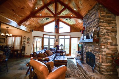 """Luxurious Upstairs Living Area, w/ leather, slate, fireplace & """"wow"""" view!"""