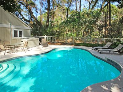 Photo for Bright home w/ private pool, entertainment & easy beach access - dogs ok!