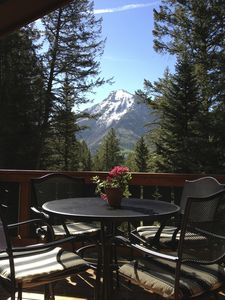 View of White House Mountain from deck in early summer.
