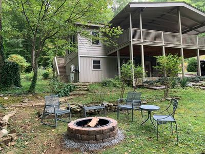 Photo for Creek Crossing Retreat- sleeps 10, creek, fire pit, WiFi, game room, central AC, gas grill