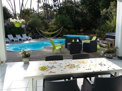 Photo for HOUSE 4 * 6 / 7P with heated pool, SPA, 800 m beach, 600m Lake Hossegor, Golf
