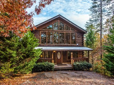 Photo for Beautiful cabin close to downtown w/ private hot tub, mountain views & theater!