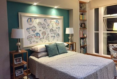 Guest bedroom, ceiling fan and closet space