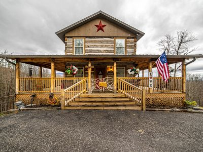 Photo for AUTHENTIC  ANTIQUE LOG CABIN LOCATED IN TIMBERIDGE  COMMUNITY