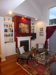 The gas fireplace for cozy evenings is the center of the living room