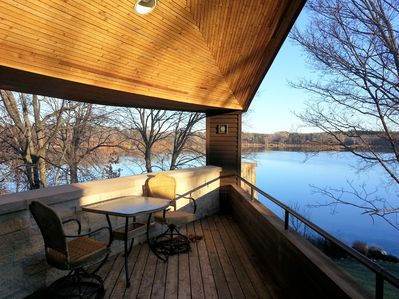 Magnificent lake view from deck off of living room