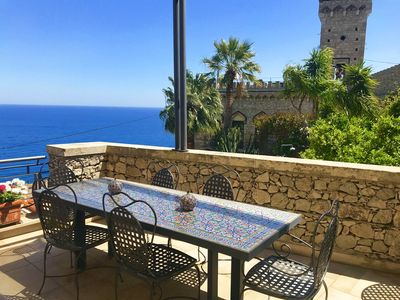 Photo for VILLA ELEONORA PANORAMIC APARTMENT Sea View Small Pool Taormina