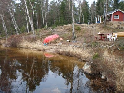 Photo for Cottage in sunny sole location on a peninsula 20m to the water by canoe