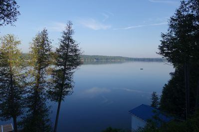 Morning mist view from the cottage deck.