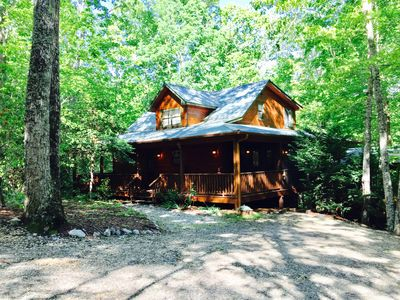 Photo for Dancing Bear  Your  Honeymoon Cabin with Hot Tub in the Woods