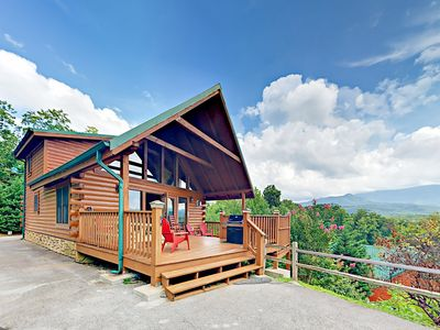 Photo for Above It All: 3BR Cabin w/ 3 Fireplaces, Billiards, Mountain Views & Hot Tub