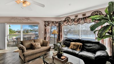 Living room overlooking the marina and yacht basin.