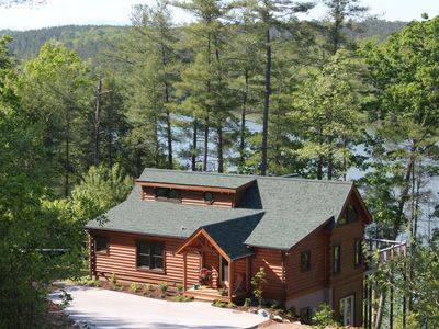 Photo for Lakefront Log Cabin with private dock on Lake Rhodhiss with Kayaks & Paddleboard