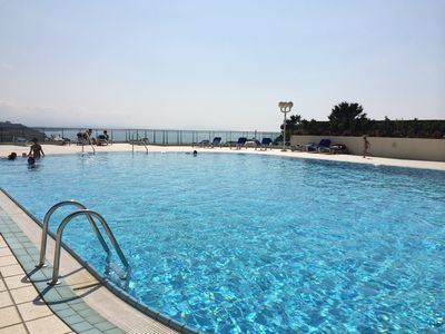 Photo for Beautiful ocean view apartment, terrace, pool, near Biarritz