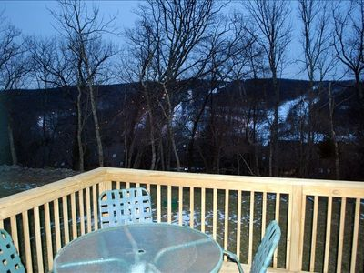 A view of Shawnee Ski Mountain from dining room and deck