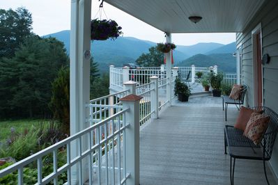 Endless decks and porches provide great views of the mountains and the waterfall