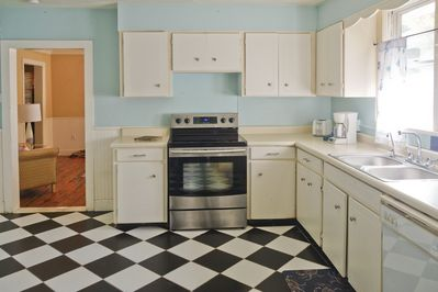 Kitchen with vintage look but brand new stainless appliances
