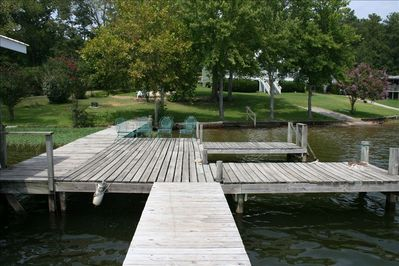 Boat Dock with plenty of room for a boat, fishing and sunning