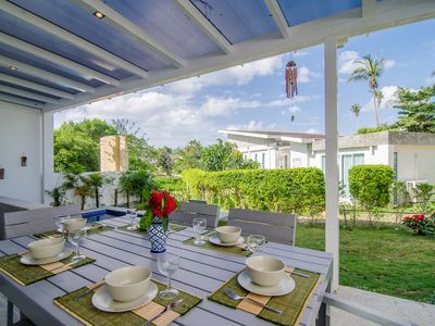 Photo for Family friendly luxury villa with private garden, jacuzzi