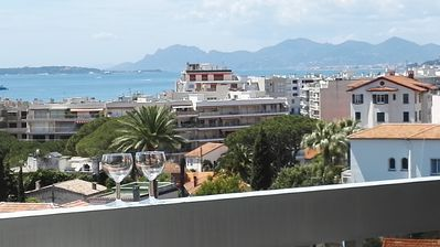 Photo for Apartment in Juan Les Pins Antibes, sea view, close to beaches, pool