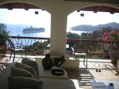 The view from your sofa that seats 8. Watch the activity !