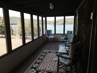 Tribes cottage with an awesome view of Star Lake from the screened porch.