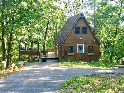 Photo for Cozy Cabin tucked in the woods- Secluded (new winter rates with wk/mo discounts)