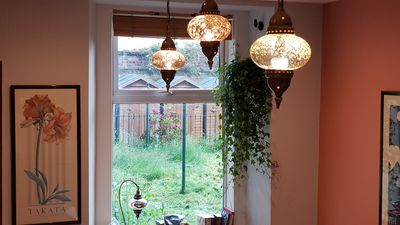 Turkish lights and ivy in kitchen.