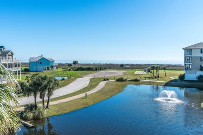 Spectacular view of gulf and pond from balcony.