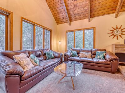 Photo for Dog-friendly home w/ wood stove, grill & forest view - near skiing/Story Land!