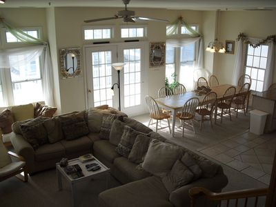 Great room -seats 12-14 on couches - 10 - 15 for dining (card table available)