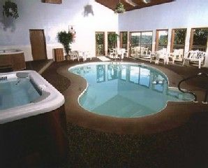 Complex indoor pool and hot tub.