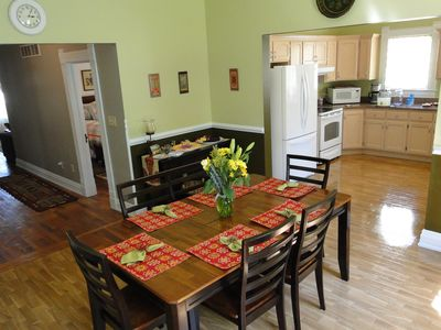 View of the dining room, kitchen and hall with a glimpse of the second bedroom