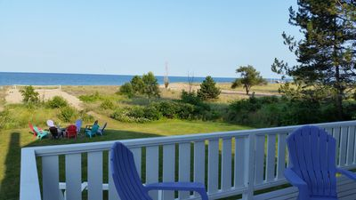 Our beachfront vacation rental on Lake Huron has Volleyball, Horseshoes, firepit