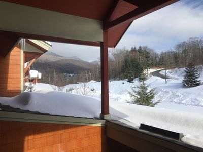 Front door view - winter 2018 - u can ski down to lift or back via Escape route