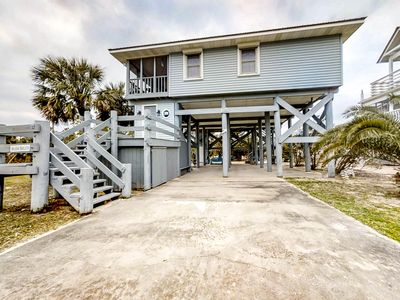 Photo for Dog-friendly home - steps from the beach w/ a screened in porch!