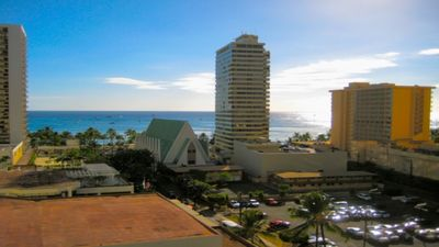 Ocean View of Waikiki Beach from bedroom and kitchen