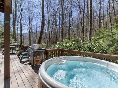 Photo for CREEK - WOODS - HOT TUB -  DECKS - SECLUDED -5 STAR REVIEWS