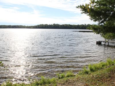 Photo for Charming, peaceful Wabana chain of lakes cabin with sandy beach