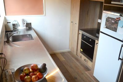New kitchen features a fantastic oven with pizza option