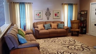 "Photo for Modern home, 3 bedrms, 1 double-sink bathrm,   65"" TV  & 3 couches in living rm"