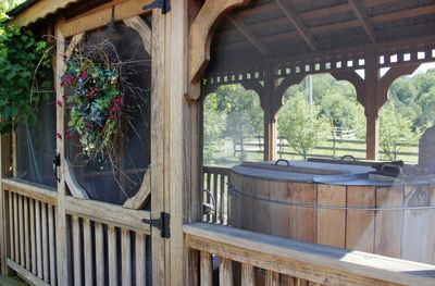 Cedar hot tub in the gazebo, open year round. A soaking tub for up to 3 adults