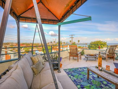 Photo for Large 3BR w/ Expansive Patio, BBQ, Fire Pit, Swing & Views, 2 Blocks to Beach