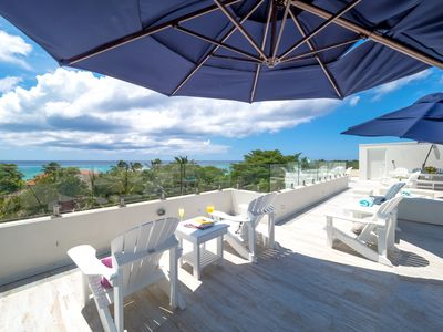 Photo for 4BR, Ocean Views from Roof Terrace, Seven Mile Beach (Sleep 10) Boggy Sands Club