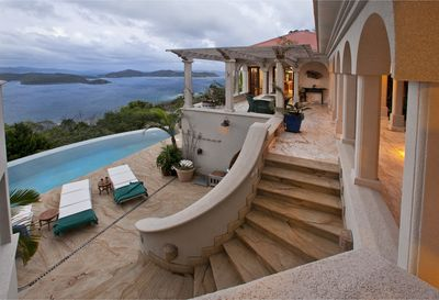 Coral Bay, St John, USVI Villa Solemare - view at dusk of disappearing edge pool