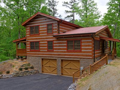 Photo for Appalachian Escape: All log~Secluded~Hottub~Arcade~wooded backyard/firepit~WIFI