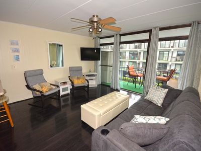 Photo for Upscale, swanky 1 bedroom condo with free WiFi, flat screen televisions, and stylish beach decor located in exciting downtown only a few streets from the boardwalk and steps from the beach!